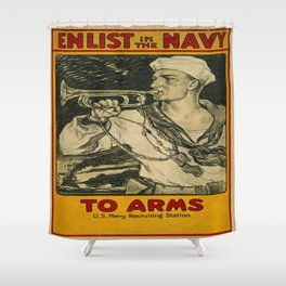 Vintage poster - Enlist in the Navy Shower Curtain