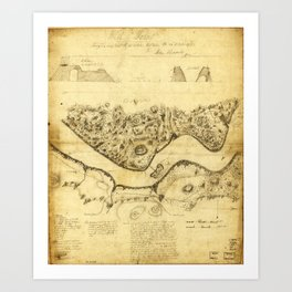 Original West Point Survey Map October 24th-27th 1783 Art Print