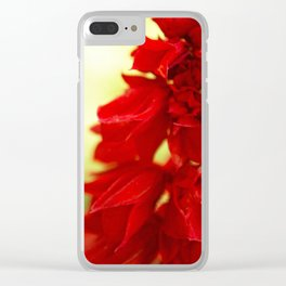 Red Floral Abstract Clear iPhone Case