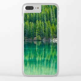 Reflective Green Pine Forest With Green Turquoise Waters Clear iPhone Case