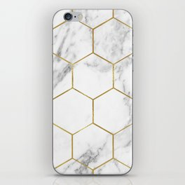 Gold marble hexagon pattern iPhone Skin