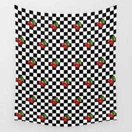 Checkered Cherries Wall Tapestry