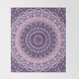 Purple Lace Mandala Throw Blanket