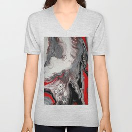 No Dice - Black, Silver and Red Abstract Unisex V-Neck