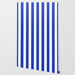 Persian blue - solid color - white vertical lines pattern Wallpaper