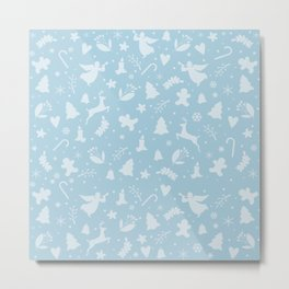 Blue Christmas pattern Metal Print