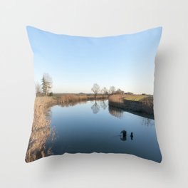 A blue river landscape Throw Pillow