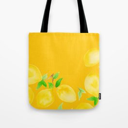 Lemons on Mustard Yellow Tote Bag
