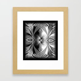 Abstract Peacock. Black+White. Framed Art Print