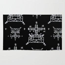 Baron Samedi Voodoo Veve Symbols in Black Rug