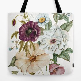 Colorful Wildflower Bouquet on White Tote Bag
