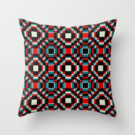 Red and Blue Retro Flowers Shenlong Throw Pillow