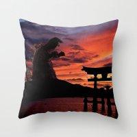 godzilla Throw Pillows featuring Godzilla by Danielle Tanimura