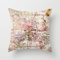 houston Throw Pillows featuring Houston by MapMapMaps.Watercolors