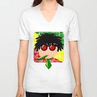 reggae V-neck T-shirts featuring Reggae Kazoo by mailboxdisco
