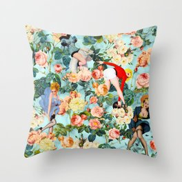 Floral and Pin Up Girls II Pattern Throw Pillow