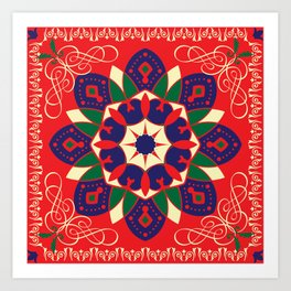 Egyptian Tent fabric, khyamia texture, ethnic traditional Ramadan pattern design in its original red, blue ,yellow &green colors,for Ramadan  Art Print