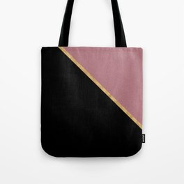 Trendy Glitter Rose Gold and Black Triangle Design Tote Bag