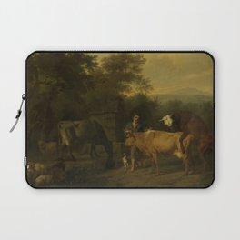 Dirck van Bergen - Landscape with Herdsman and Cattle Laptop Sleeve