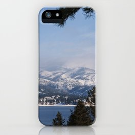 Snow Capped Mountain Pine Tree Lined Lanscape Colored Canvas Wall Art Print iPhone Case