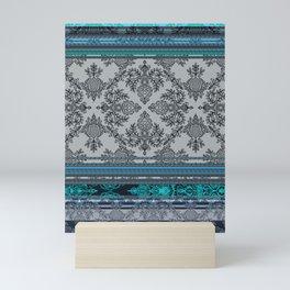 Teal, Aqua & Grey Vintage Bohemian Wallpaper Stripes Mini Art Print