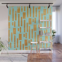 Abstract Bamboo Turquoise Gold Mid-Century Wall Mural