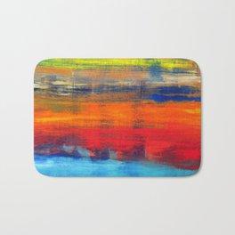 Horizon Blue Orange Red Abstract Art Bath Mat