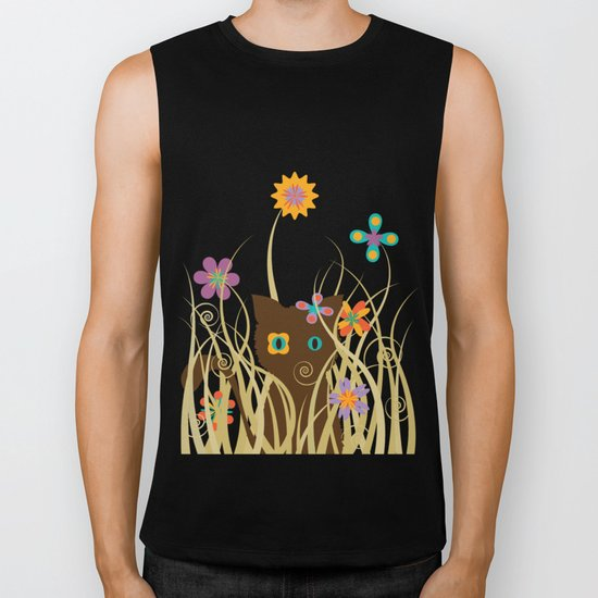 Whimsical Blooming Flowers and Brown Kitty Cat Biker Tank