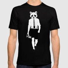 Raccoon ~ black and white MEDIUM Black Mens Fitted Tee