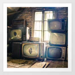 Old televisions in a dusty attic Art Print