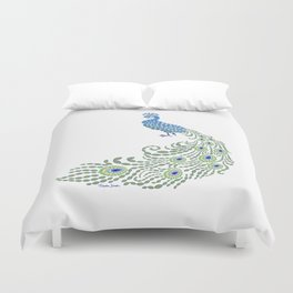 Jeweled Peacock on White Duvet Cover