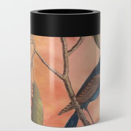 Blue Grosbeak with Sweetbay Magnolia, Vintage Natural History and Botanical Can Cooler