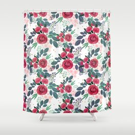 Cute Rose Pink Peonies Watercolor Paint Gold Dots Design Shower Curtain