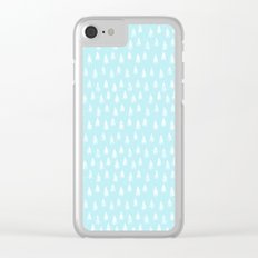 Merry christmas- abstract winter pattern with white trees and snow Clear iPhone Case
