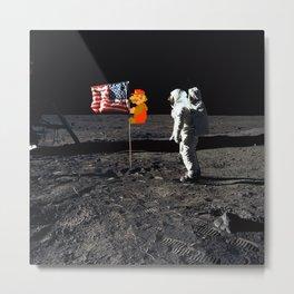 Super Mario on the Moon Metal Print