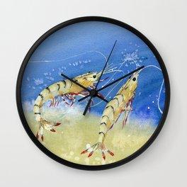 Swimming Together - Shrimp Wall Clock