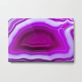 Pink agate Geode Metal Print