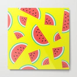 Watermelon Summer Pattern - yellow Metal Print