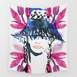 Straw Hat and Pink Leaves Wall Tapestry
