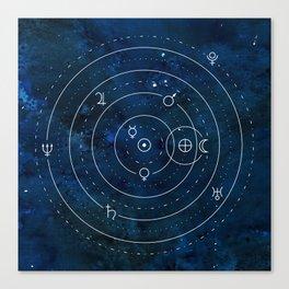 Planets Symbols on Nightsky Canvas Print