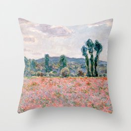 Poppy Field in Giverny by Claude Monet Throw Pillow