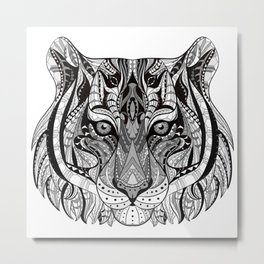 Ethnic Tiger Tribal Doodle 01 Metal Print