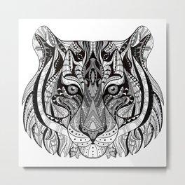 Ethnic Tiger Tribal Doodle 01 Metal Print