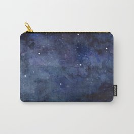 Galaxy Nebula Watercolor Night Sky Stars Outer Space Blue Texture Carry-All Pouch