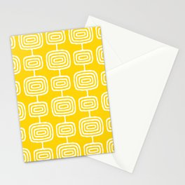 Mid Century Modern Atomic Rings Pattern Yellow Stationery Cards