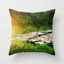 Sunlight At The Boathouse Throw Pillow