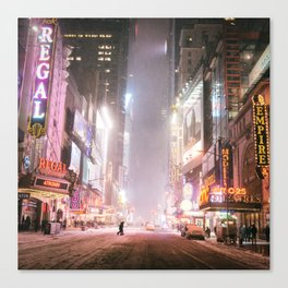 New York City Colorful Snowy Night in Times Square Canvas Print