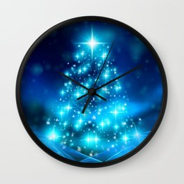 Cool Blue Christmas Tree with Sparkling Lights Wall Clock