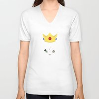 peach V-neck T-shirts featuring Peach by Logan David