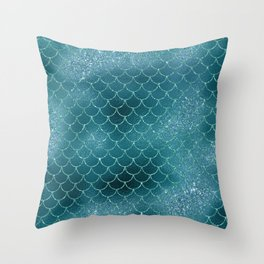 Turquoise Mermaid Scles Throw Pillow